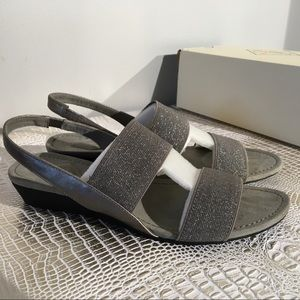 St. John's Bay silver wedge sandals Size 9